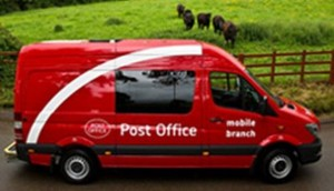 Post Office Van with sheep in background